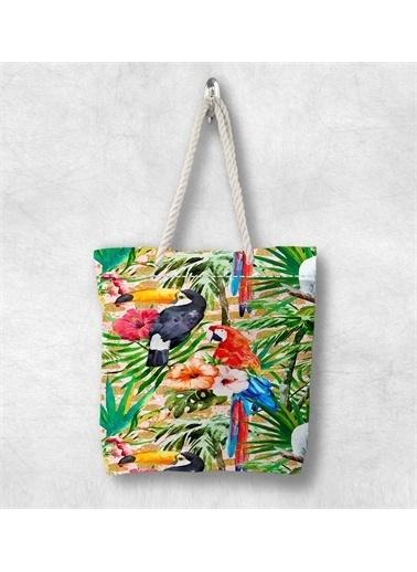 Else Halı Tropikal Papağanlı 3D Desenli Fermuarlı Kumaş Omuz Çantası Renkli